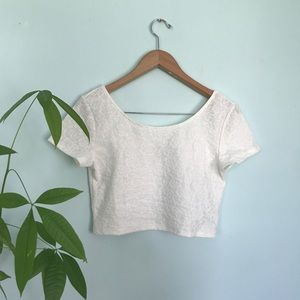 H&M Divided white floral crop top